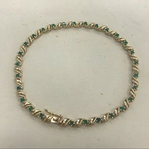 14k yellow gold genuine emerald bracelet